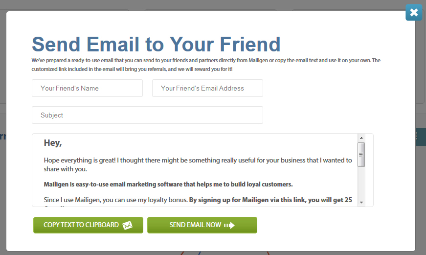 Recommend mailigen and get rewarded email marketing blog for Refer a friend email template