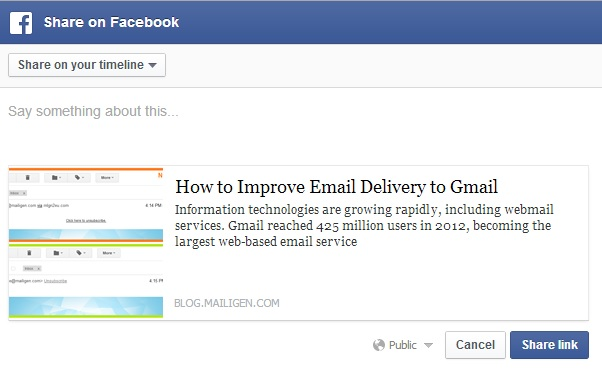 Share email content on Facebook
