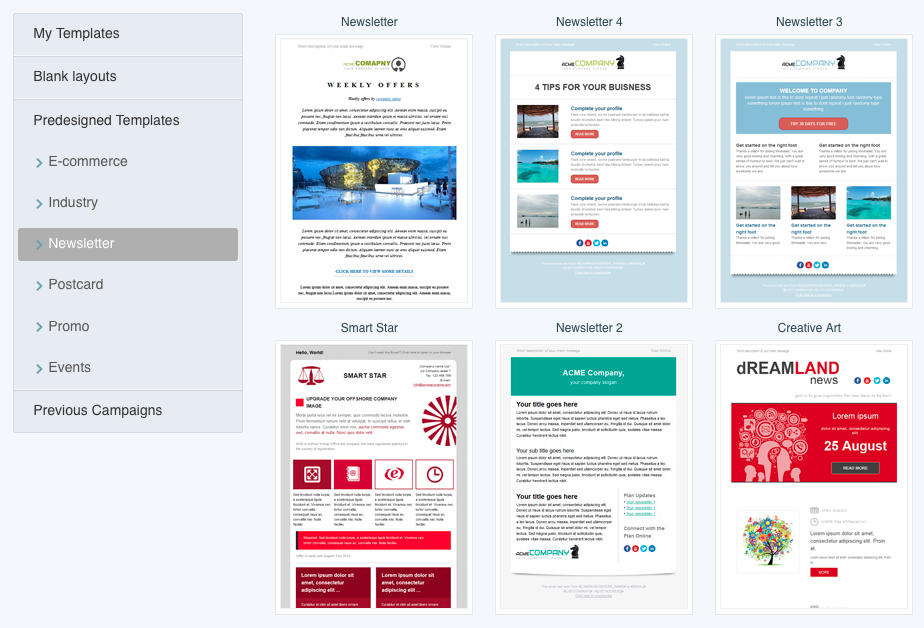 Responsive email template gallery