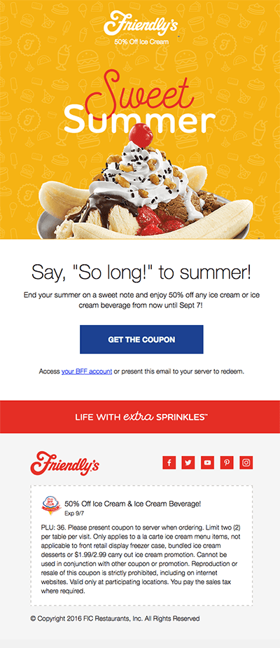"""Friendly's"" ad"