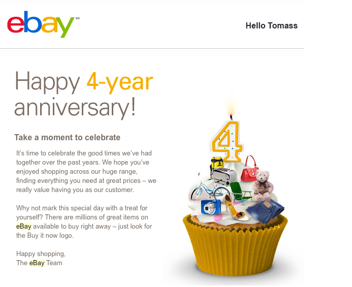 Example Ebay's Happy anniversary email
