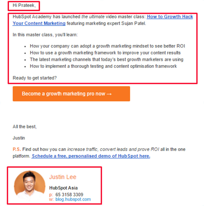 Hubspot personalized email