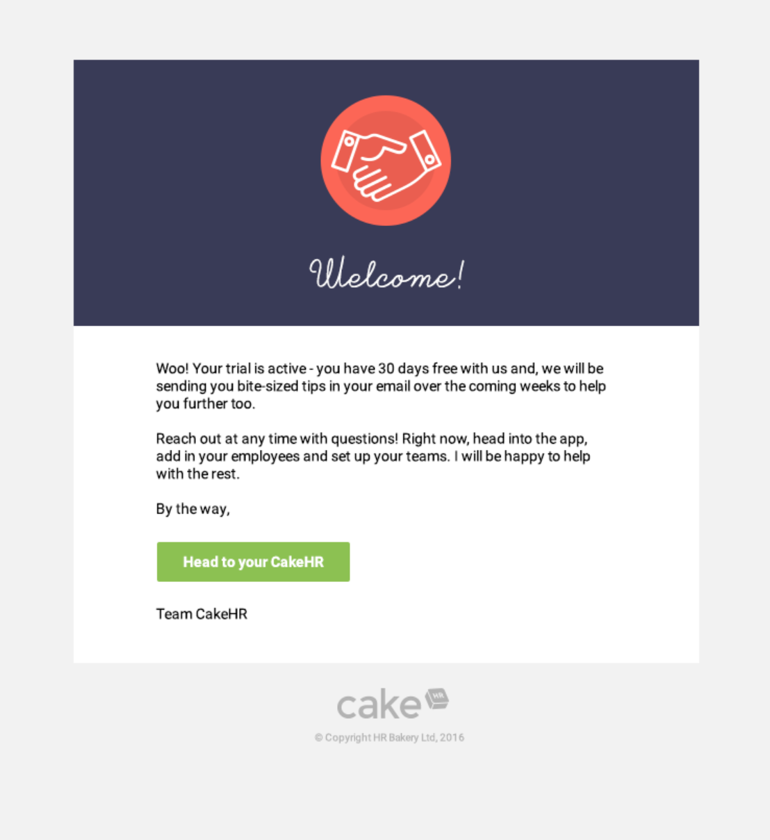 Image of welcome email.