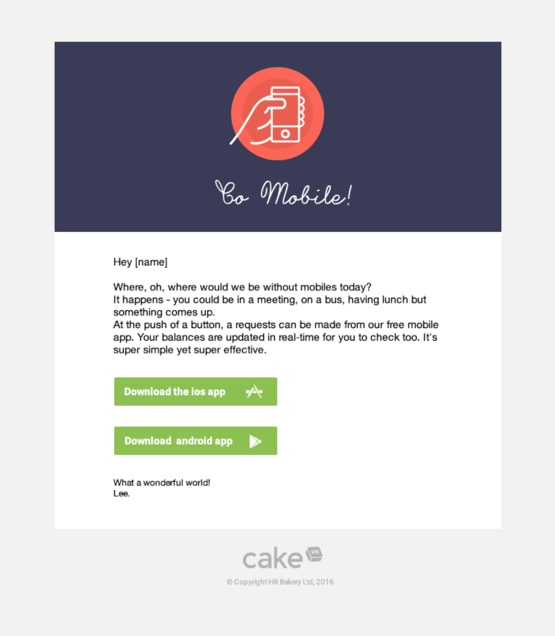 Introduction to the CakeHR mobile app email example