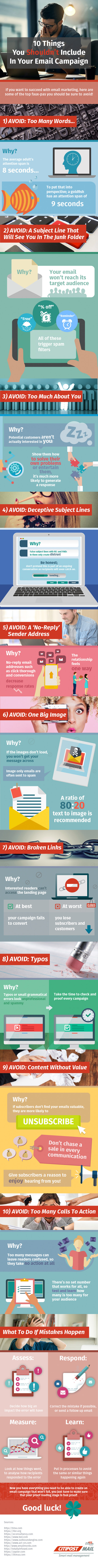 Infographic of 10 Things You Shouldn't Include In Your Email Campaign