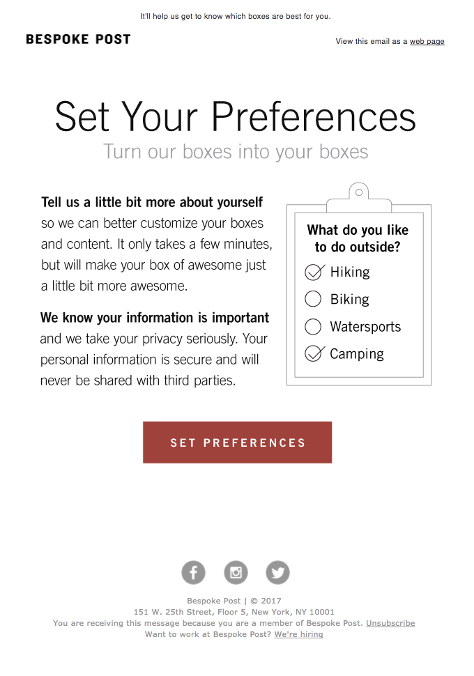Example of manage preferences form