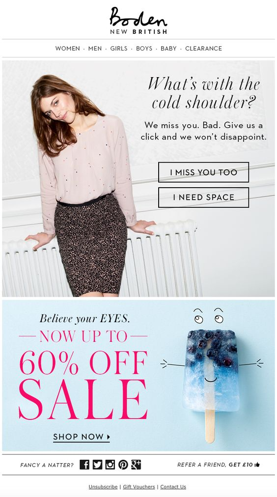 re-engage email example that eases into special deal