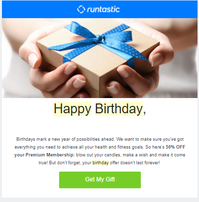 Automated email example from runtastic